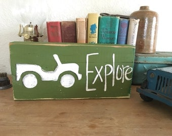 NEW Design Jeep Explore Shelf Sign Army Green Vintage Wood RuStIc and Primitive Beacadventure Reclaimed