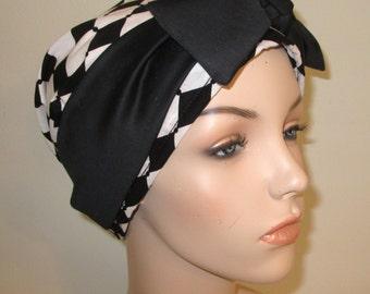 Black White Diamond Print Chemo Hat, Cancer Scarf, Surgical Scrub Hat, Turban, Hair Loss Free Ship USA