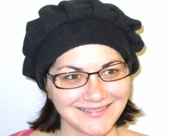 CLOSE-OUT SALE Black Fleece Beret Cancer, Chemo HatAlopecia Turban Made in America