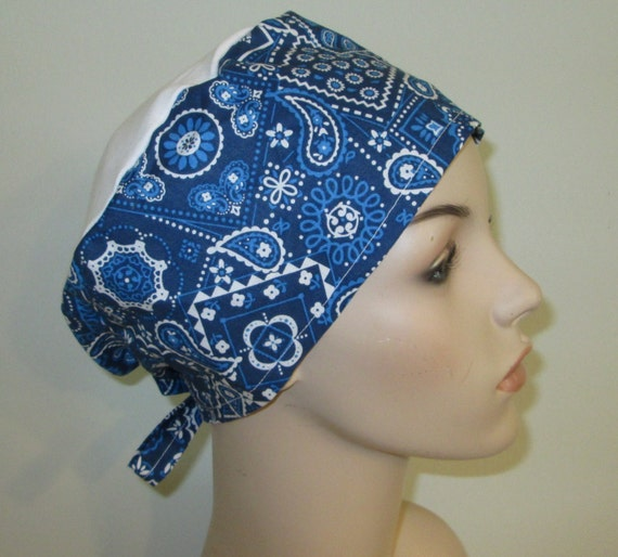Scrub Cap Blue Bandana Print   OR Cap Nurses Cap Surgical Cap Free Ship USA Adjustable Pediatric Scrub Cap Chemo Hat