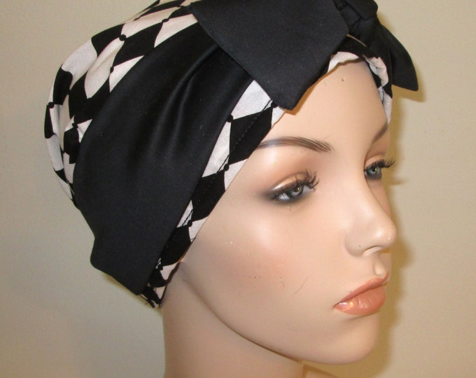 Featured listing image: Black White Diamond Print Chemo Hat, Cancer Scarf, Surgical Scrub Hat, Turban, Hair Loss Free Ship USA