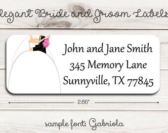 Elegant Bride and Groom Return Address Labels