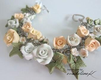 Rose Garden Charm Bracelet - Handmade Polymer Clay Rose Bracelet - Wedding Bracelet - Bridesmaid Charm Bracelet - Soft Pastel Rose Bracelet