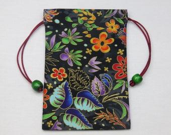 """Garden Sparkle Silk Lined Tarot Card Pouch, Tarot Card Bag, Handmade 4"""" wide x 6.25"""" tall"""