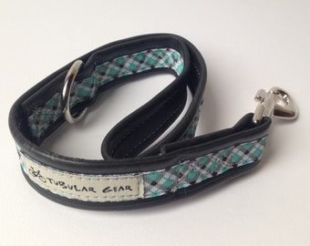 Dog leash city lead- turquoise plaid