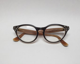 Vintage cat eyed Eye Glass Frames Glasses retro mod Eyeglasses black mother of pearl