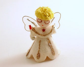 Vintage Christmas Ornament, Angel with Candle