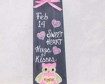 Valentine Hand Painted  Owl  Chalkboard  Plaque  Sign  Hearts  Primitive Folk Art Wall Decor OFG