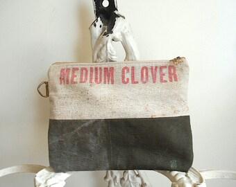 Large grain seed sack clutch, utility bag, iPad mini bag - eco vintage fabrics