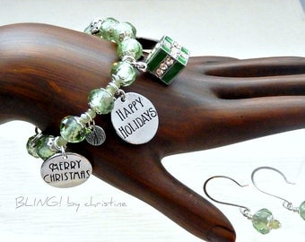Green Crystal Christmas Charm Bracelet with matching earrings and gift box Free Shipping