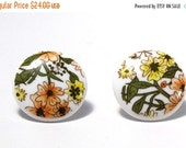 ON SALE Peach and Yellow Floral Post Earring