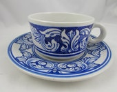 Vintage - Stoneware Teacup and Saucer - from Cambodia