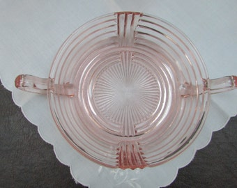 VINTAGE - Pink Depression Glass Bowl with handles