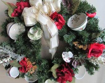 CHRISTMAS -  WINTER SALE - Teacup Wreath ~ 25% off!
