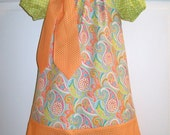 Sherbet Peasant Dress Custom Made to Order 12M to 4T Add a Matching Pillowcase Dress, Tie or Tie T for Sibling Set