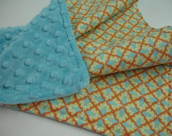 Plumes Clementine Minky Burp Cloth 15 x 20 READY TO SHIP