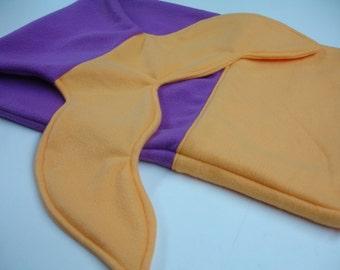 Mermaid Tail Magenta and Papaya Fleece Blanket Baby Toddler Child Tween Choose Size READY TO SHIP