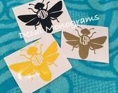 Monogrammed Bee Vinyl Decal