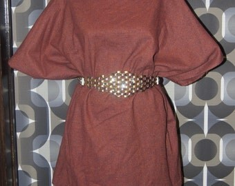 multi-colored tweed frock dress, shirt, poncho  (belt not included) maroon