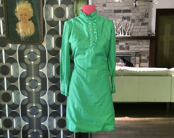 Vintage green gingham long sleeved dress with ruffled color and gold buttons