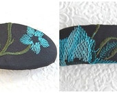 Blue barrettes, embroidered barrettes, floral barrettes, fabric barrettes, hair accessory, fashion accessory