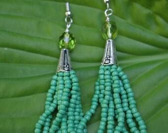 Green Boho Seed Bead Tassel Earrings