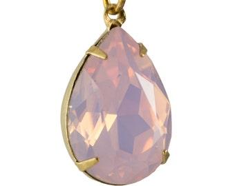 Pink Opal Glass Teardrop Stones 1 Loop Brass Setting 18x13mm (2) par004ZZ