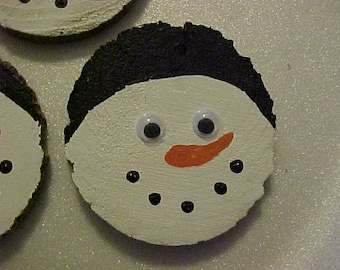 GOOGLEY EYED SNOWMEN~~Made with Recycled Scrap Wood~~Repurposed, Recycled Wooden Snowman Faces~~Humorous~~Tree Decorations~To-From Tags