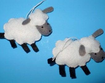 Two New Sheep Miniature Felt Ornaments