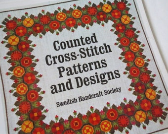 Vintage Swedish Counted Cross-Stitch Patterns and Designs Book - Needlework Book - Handcraft - Crafts Book