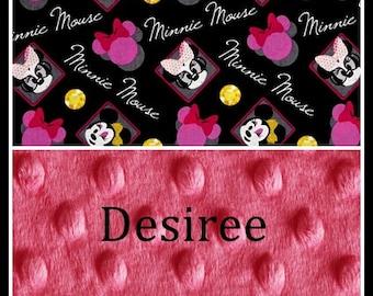Minnie Mouse Girl Blanket~Girl's Toddler Blanket~Girl's Minnie Nursery~Crib Bedding~Shower Lovey Gift~
