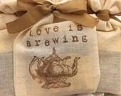 Tea Party Favors Tea Bags Bridal Shower Wedding Teapot Love is Brewing Set of 10