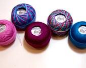 Tatting Thread, Lizbeth Size 20 Cotton Crochet Thread, Brights Collection, Pink, Burgundy, and Blue Thread