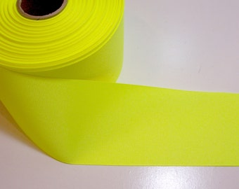 Wide Yellow Ribbon, Neon Yellow Grosgrain Ribbon 3 inches wide x 3 yards