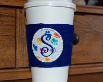 Paw Print Monogramed Coffee Cozy Sleeve - Paw Print