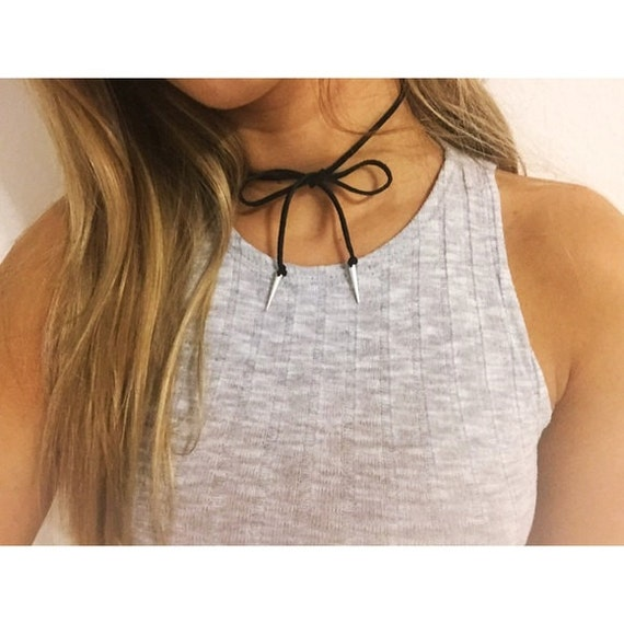 50 per cent off. Black Suede Wrap Choker with Silver Spikes