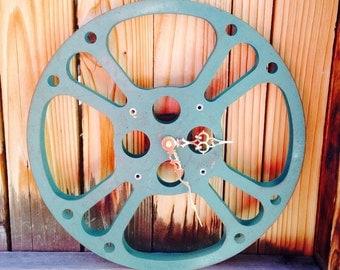 Clock, Movie Reel Clock, Wall Clock, 16mm Metal Movie Reel Clock, Recycled, Upcycled Gift Item #22