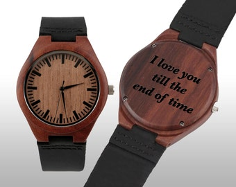 Engraved Watch, Wood Watch, Fathers Day, Engraved Wood Watch, Wooden Watch, Leather Strap, Red Wood, Customized, Personalized Gift
