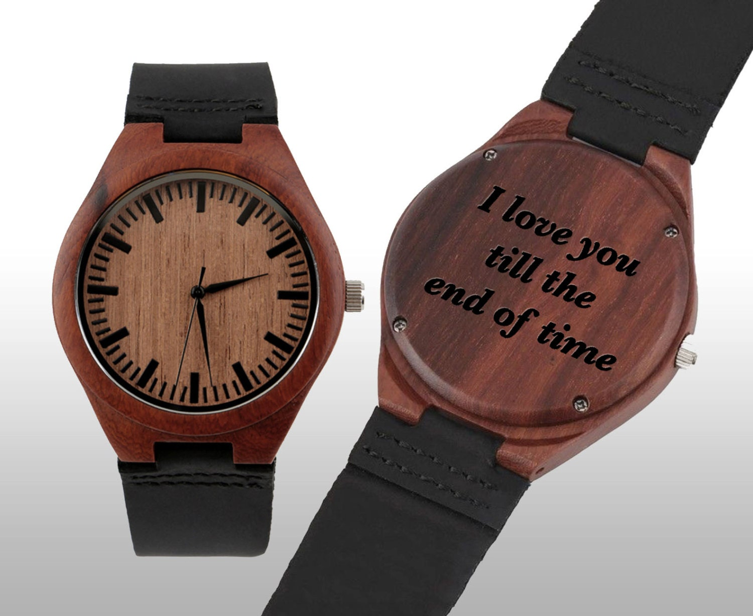 Engraved watch wood watch fathers day engraved wood watch for Watches engraved