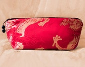 RED DRAGON Silk Brocade Makeup Bag