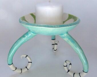 whimsical pottery Dish w/ polka-dots, stripes, curly legs, fun, colorful ceramic Beach Home Decor -- ready to ship lime green & aqua