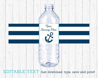 Nautical Anchor Water Bottle Wraps / Water Bottle Labels / Nautical Baby Shower / Printable INSTANT DOWNLOAD Editable PDF