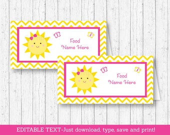 Sunshine Buffet Cards / Sunshine Food Labels / Sunshine Place Cards / You Are My Sunshine Birthday / INSTANT DOWNLOAD Editable PDF