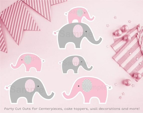 Pink elephant cut outs elephant cut outs wall decor for Baby shower decoration cutouts