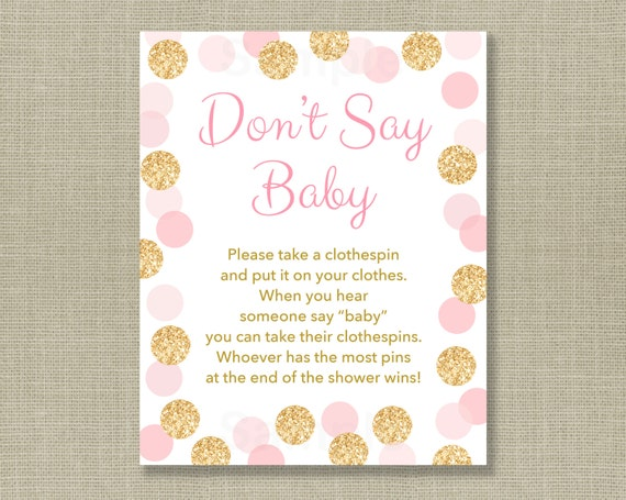 Baby Shower Clothes Pin Game Simple Glitter Don't Say Baby Game Glitter Baby Shower Glitter Dots
