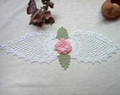 Pineapple Ruffled Rose Crochet Lace Thread Art Doily