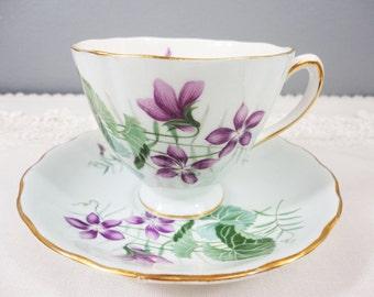 Colclough Pale Blue and Purple Violets Bone China Teacup and Saucer