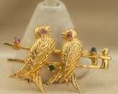 Vintage Brooch Gold Tone Love Birds on Branch Brooch or Pin