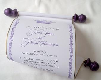 Royal crown wedding invitation, paper scroll invitations,  castle wedding invitation, purple and gold, set of 100 scrolls
