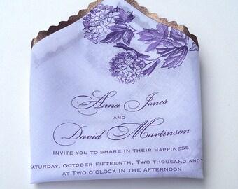 Romantic wedding invitation, elegant wedding invitation, handkerchief invitation, purple and eggplant, hydrangea invitation - SAMPLE